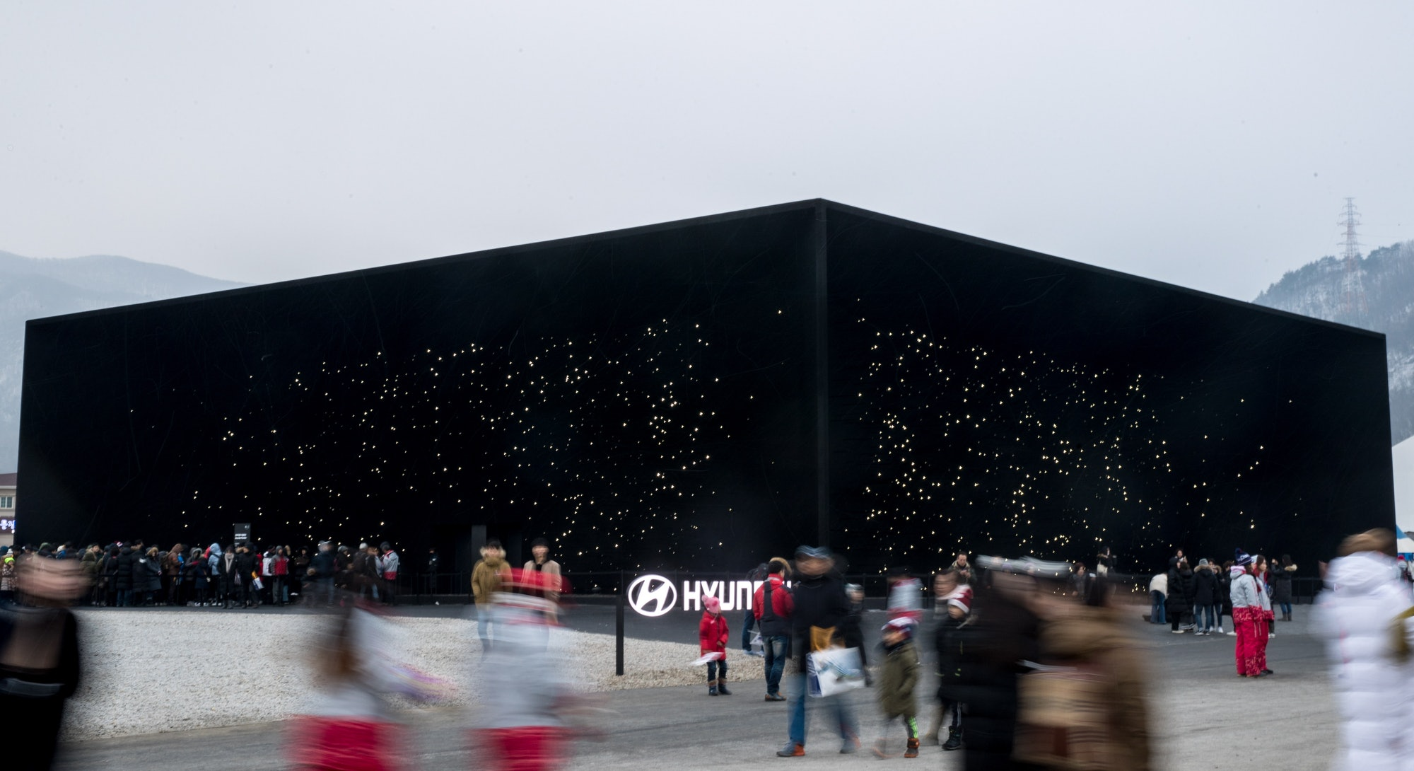 PYEONGCHANG, SOUTH KOREA - FEBRUARY 23, 2018: A pavilion, nicknamed the super-black building, designed by British architect Asif Khan and built by Hyundai, in Pyeonchang, the host location of the 2018 Winter Olympic Games; the building is sprayed on the outside with Vantablack, the darkest chemical substance on Earth. Sergei Bobylev/TASS (Photo by Sergei Bobylev\TASS via Getty Images)
