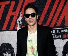 """HOLLYWOOD, CALIFORNIA - MARCH 18: Pete Davidson arrives at the premiere of Netflix's """"The Dirt"""" at A..."""