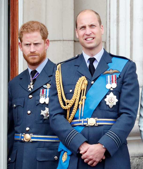 LONDON, UNITED KINGDOM - JULY 10: (EMBARGOED FOR PUBLICATION IN UK NEWSPAPERS UNTIL 24 HOURS AFTER CREATE DATE AND TIME) Prince Harry, Duke of Sussex and Prince William, Duke of Cambridge watch a flypast to mark the centenary of the Royal Air Force from the balcony of Buckingham Palace on July 10, 2018 in London, England. The 100th birthday of the RAF, which was founded on on 1 April 1918, was marked with a centenary parade with the presentation of a new Queen's Colour and flypast of 100 aircraft over Buckingham Palace. (Photo by Max Mumby/Indigo/Getty Images)