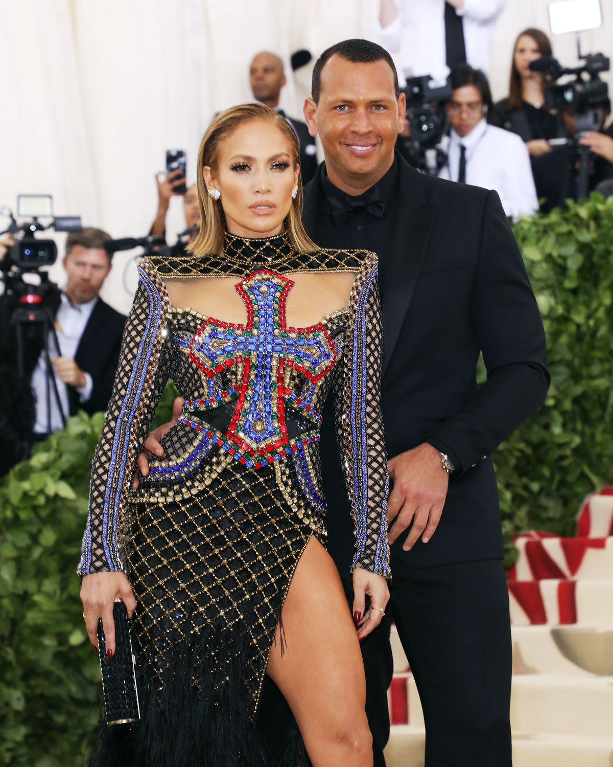 NEW YORK, NY - MAY 07:   Jennifer Lopez and AROD attend the Heavenly Bodies: Fashion & The Catholic Imagination Costume Institute Gala at The Metropolitan Museum of Art on May 7, 2018 in New York City.