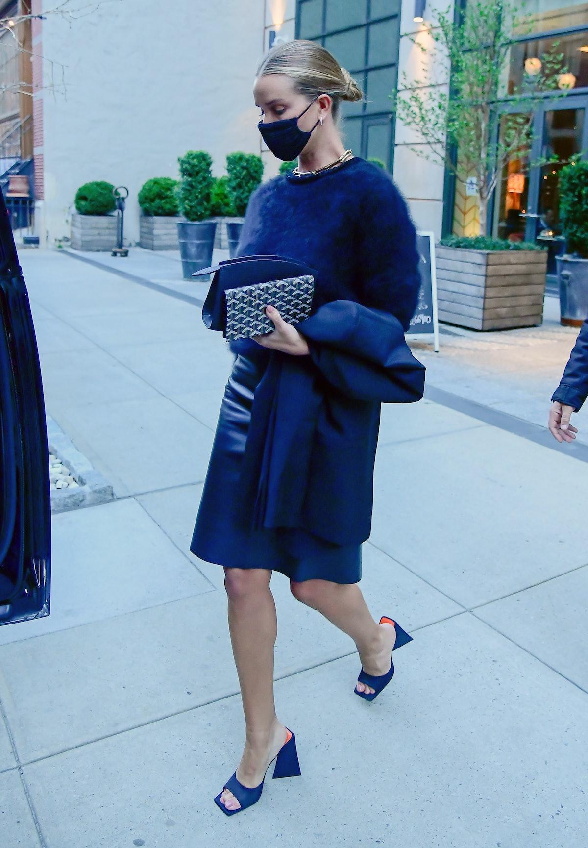 NEW YORK, NY - APRIL 13:  Model Rosie Huntington-Whiteley is seen in SoHo on April 13, 2021 in New Y...