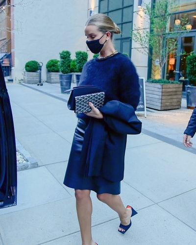 NEW YORK, NY - APRIL 13:  Model Rosie Huntington-Whiteley is seen in SoHo on April 13, 2021 in New York City.  (Photo by Raymond Hall/GC Images)