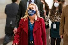 WASHINGTON, DC  February 3, 2021:  Rep. Marjorie Taylor Greene, R-Ga., arrives for the House Republi...
