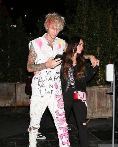 LOS ANGELES CA - SEPTEMBER 24:  Machine Gun Kelly and Megan Fox are seen leaving a restaurant on September 24, 2020 in Los Angeles, California. (Photo by iamKevinWong.com/MEGA/GC Images)