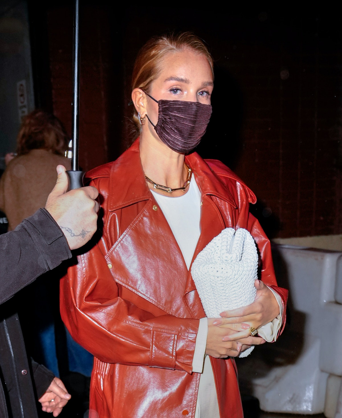 NEW YORK, NEW YORK - APRIL 13: Rosie Huntington-Whiteley go to dinner in the rain on April 13, 2021 ...