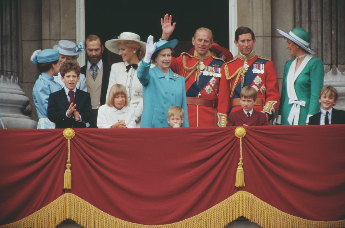 The royal family on the balcony of Buckingham Palace in London during the Trooping the Colour ceremony, June 1988. Among them are Queen Elizabeth II, Prince Philip, Prince Charles, Prince William, Prince Harry, Diana, Princess of Wales, Prince and Princess Michael of Kent, Lord Frederick Windsor and Lady Gabriella Windsor and Princess Margaret. Diana is wearing a green and white dress by Catherine Walker. (Photo by Jayne Fincher/Princess Diana Archive/Getty Images)
