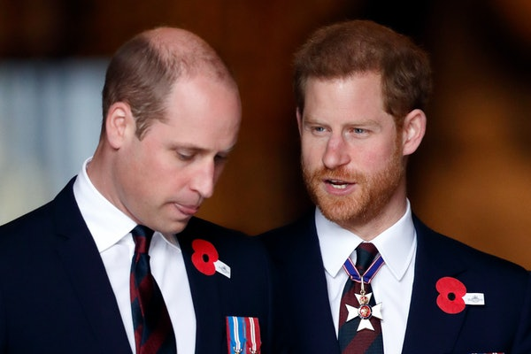 LONDON, UNITED KINGDOM - APRIL 25: (EMBARGOED FOR PUBLICATION IN UK NEWSPAPERS UNTIL 24 HOURS AFTER CREATE DATE AND TIME) Prince William, Duke of Cambridge (wearing the regimental tie of the Household Division) and Prince Harry (also wearing the regimental tie of the Household Division along with his Knight Commander of the Royal Victorian Order 'KCVO' medal on a ribbon around his neck) attend an Anzac Day Service of Commemoration and Thanksgiving at Westminster Abbey on April 25, 2018 in London, England. Anzac Day commemorates members of the Australian and New Zealand Army Corps who died during the Gallipoli landings of 1915. (Photo by Max Mumby/Indigo/Getty Images)