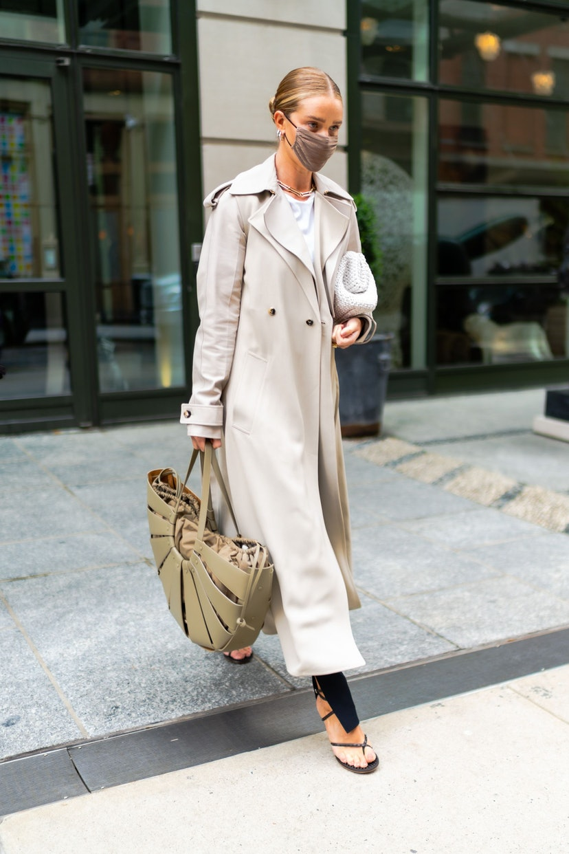 NEW YORK, NEW YORK - APRIL 13: Rosie Huntington-Whiteley is seen in SoHo on April 13, 2021 in New York City. (Photo by Gotham/GC Images)