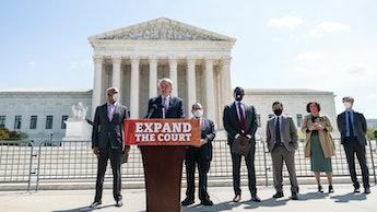 WASHINGTON, DC - APRIL 15: (L-R) Rep. Hank Johnson (D-GA), Sen. Ed Markey (D-MA), House Judiciary Co...