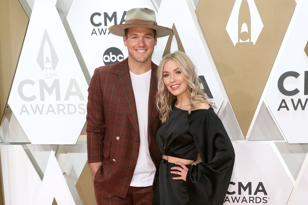 NASHVILLE, TENNESSEE - NOVEMBER 13: (FOR EDITORIAL USE ONLY)  Colton Underwood and Cassie Randolph attend the 53nd annual CMA Awards at Bridgestone Arena on November 13, 2019 in Nashville, Tennessee. (Photo by Taylor Hill/Getty Images)