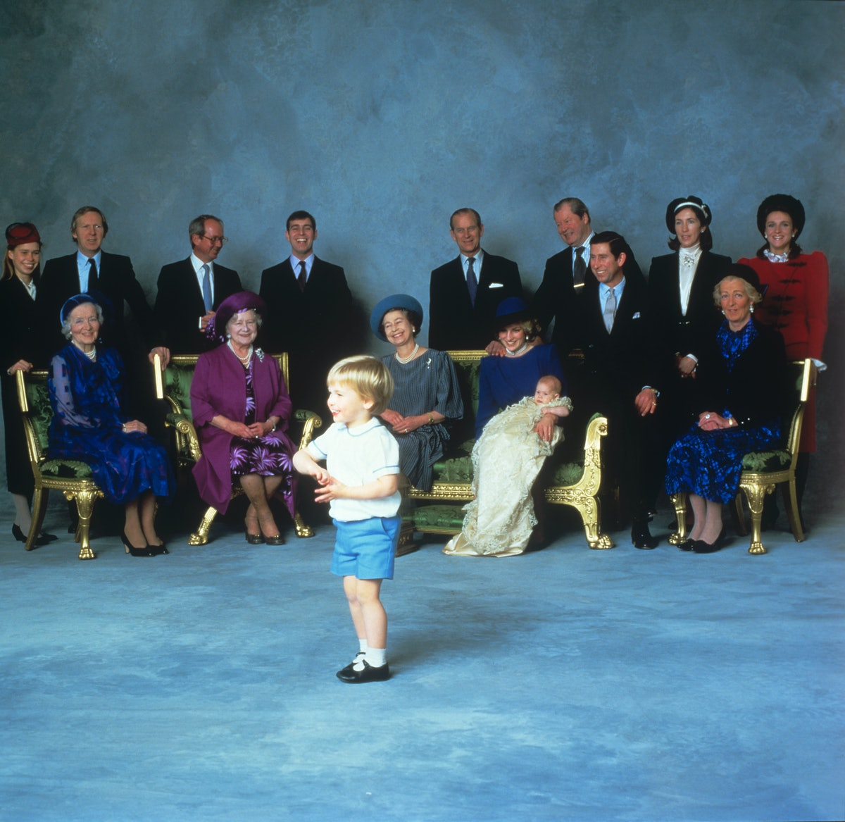 PRINCE HARRY, HENRY OF WALES WITH LARGE GROUP OF ROYAL RELATIVES AND GODPARENTS ON HIS CHRISTENING, AGED THREE MONTHS.   (Photo by PA Images via Getty Images)