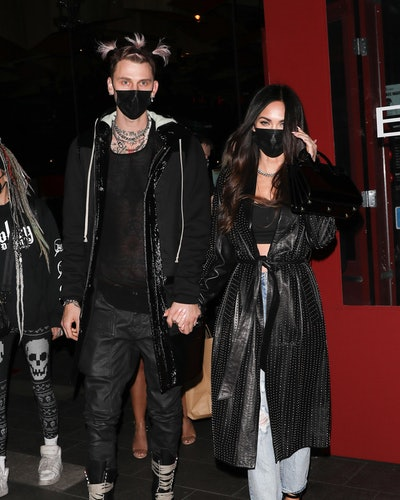 LOS ANGELES, CA - MARCH 5:  Machine Gun Kelly and Megan Fox are seen out to dinner at BOA on March 5, 2021 in Los Angeles, California. (Photo by iamKevinWong.com/MEGA/GC Images)