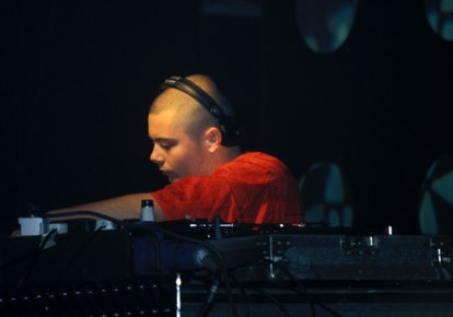 Guy Manuel Homme de Cristo of Daft Punk, Djing, Creamfields, UK, 1998. (Photo by: PYMCA/Universal Images Group via Getty Images)