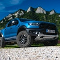 Cerveny Klastor, Slovakia - 28th August, 2020: Ford Ranger Raptor on a road in mountain scenery. Ranger is one of the most popular pickup vehicles in Europe.