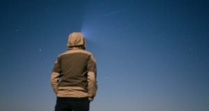 STARINA, SLOVAKIA  - APRIL 22: A Lyrid Meteor Shower captured on April 22, 2016 in Starina, Slovakia.  Lyrid shower occurs every April when the Earth passes through the moving dust and debris left behind by the comet Thatcher (also known as comet C/1861 G1), as this icy body travels around the sun on its 415-year orbit.  PHOTOGRAPH BY Robert Nemeti / Barcroft Media  UK Office, London. T +44 845 370 2233 W www.barcroftmedia.com  USA Office, New York City. T +1 212 796 2458 W www.barcroftusa.com  Indian Office, Delhi. T +91 11 4053 2429 W www.barcroftindia.com (Photo credit should read Robert Nemeti / Barcroft Media / Barcroft Media via Getty Images)