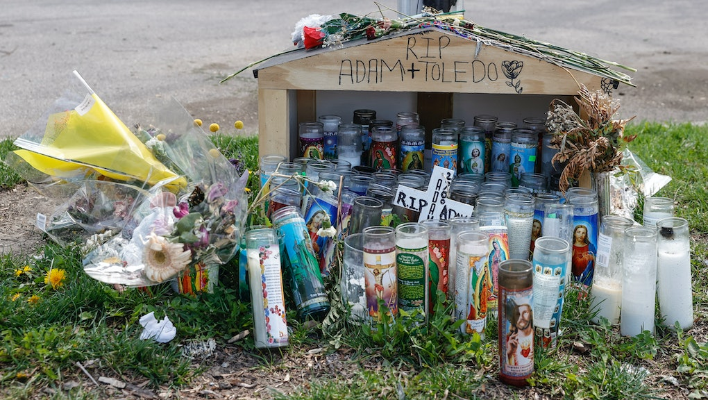 CHICAGO, IL - APRIL 15: A small memorial is seen where 13-year-old Adam Toledo was shot and killed by a Chicago Police officer in the Little Village neighborhood on April 15, 2021 in Chicago, Illinois. The rally is held in protest of the killing of 13-year-old Adam Toledo by a Chicago Police officer on March 29th. The video of the fatal shooting was released on Thursday to the general public by the Civilian Office of Police Accountability more than two weeks after the incident took place. (Photo by Kamil Krzaczynski/Getty Images)