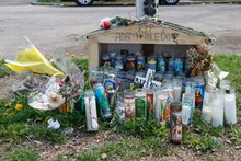 CHICAGO, IL - APRIL 15: A small memorial is seen where 13-year-old Adam Toledo was shot and killed b...