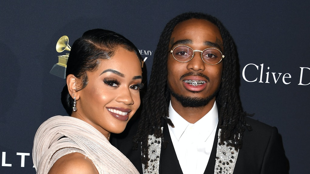"""BEVERLY HILLS, CALIFORNIA - JANUARY 25: Saweetie and Quavo arrives at the Pre-GRAMMY Gala and GRAMMY Salute to Industry Icons Honoring Sean """"Diddy"""" Combs at The Beverly Hilton Hotel on January 25, 2020 in Beverly Hills, California. (Photo by Steve Granitz/WireImage)"""