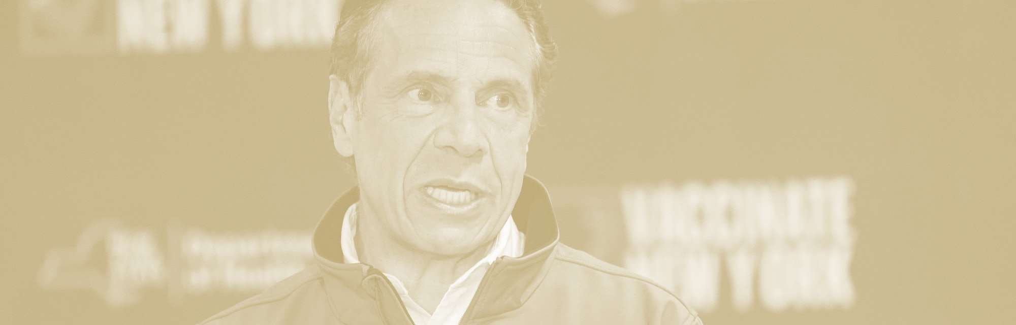 ELMONT, NY - APRIL 14: Gov. Andrew Cuomo speaks during a news conference, at a pop up COVID-19 vaccination sight on April 14, 2021 at Belmont Park in Elmont , New York. Cuomo announced Northwell Health will assist getting many of the workers at the USB Arena vaccinated at the Belmont Park pop up vaccination site.  (Photo by Mary Altaffer-Pool/Getty Images)