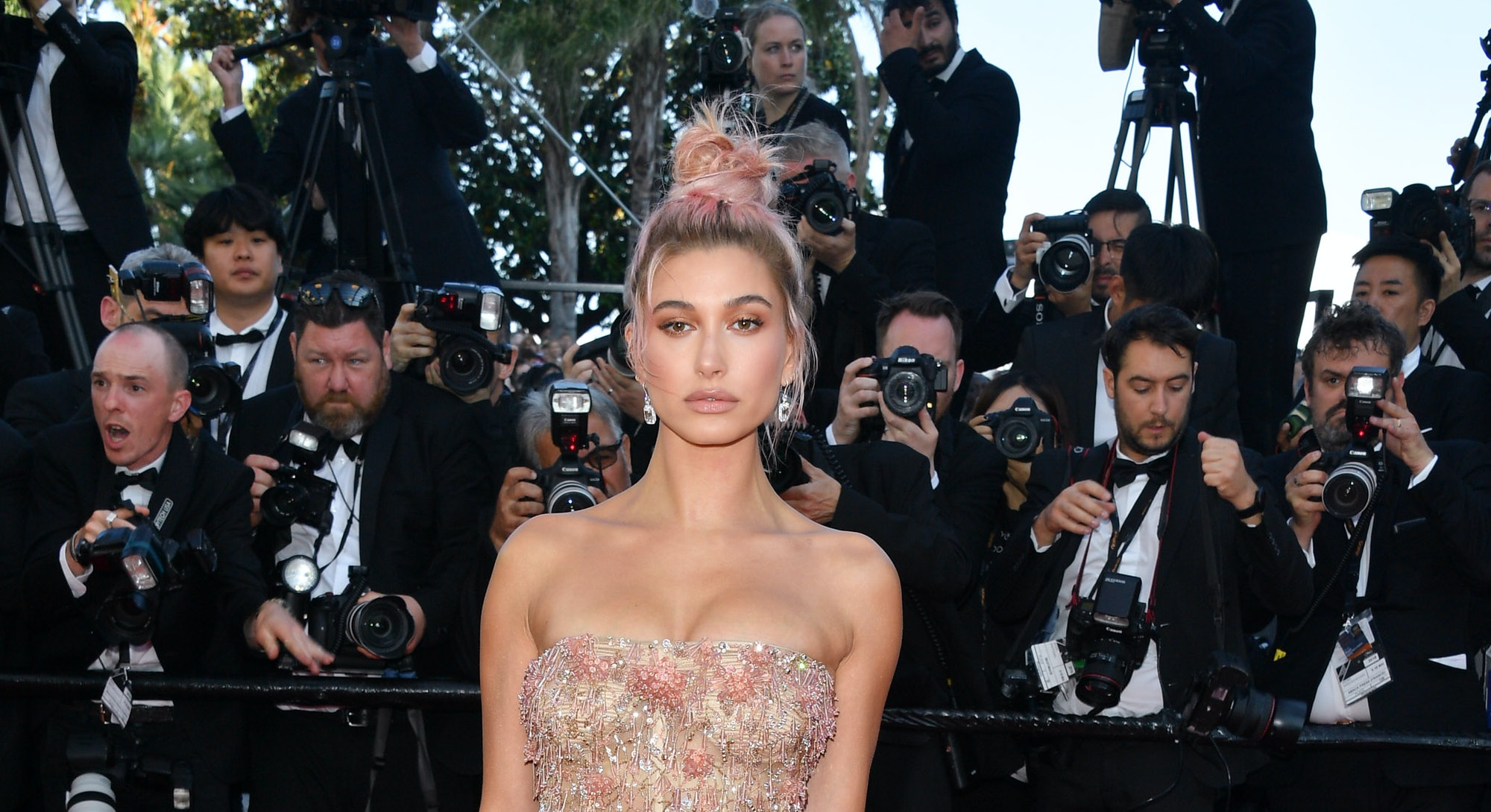 CANNES, FRANCE - MAY 12:  Hailey Baldwin attends the screening of 'Girls Of The Sun (Les Filles Du Soleil)' during the 71st annual Cannes Film Festival at Palais des Festivals on May 12, 2018 in Cannes, France.