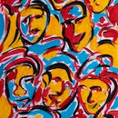 Original acrylic painting on canvas. Colorful abstract painting showing facial expressions.