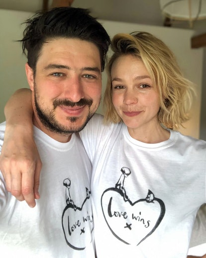 LONDON, ENGLAND - APRIL 20: Marcus Mumford and Carey Mulligan, wearing a limited-edition t-shirt created in collaboration with Charlie Mackesy featuring his beloved characters, the Boy and the Mole alongside the poignant slogan, Love Wins, on April 20, 2020 in London, England. The t-shirt goes on sale for £15 and is available online at comicrelief.com/love-wins, with every pound going to charities on the front line of the coronavirus fight. (Photo by Marcus Mumford and Carey Mulligan - Comic Relief via Getty Images)