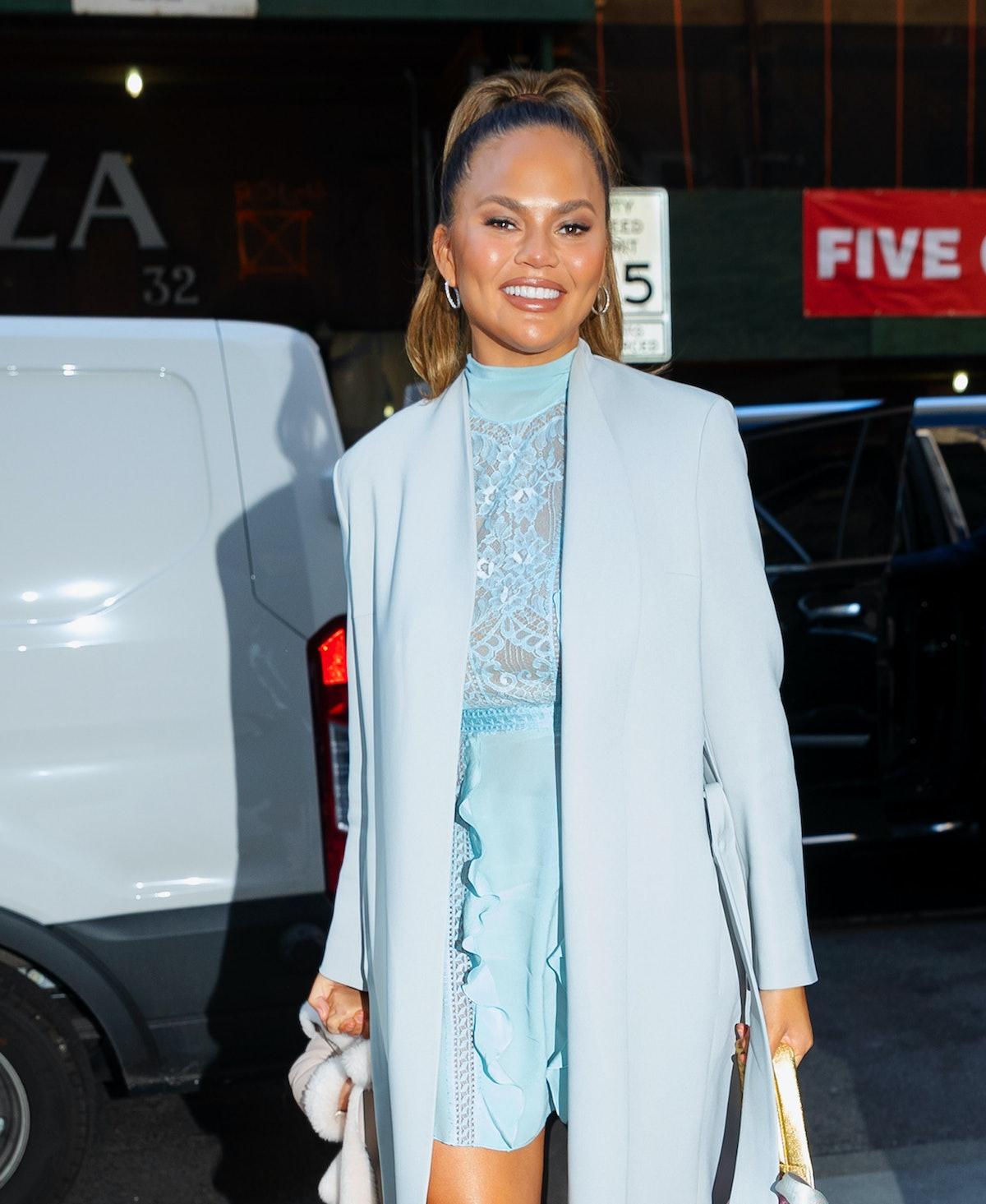 NEW YORK, NEW YORK - FEBRUARY 19: Chrissy Teigen arrives at NBC studios with daughter Luna on Februa...