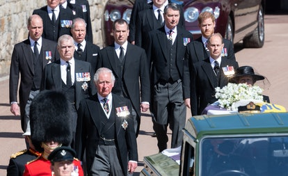 WINDSOR, ENGLAND - APRIL 17: Prince Charles, Prince of Wales, Prince Andrew, Duke of York, Prince Edward, Earl of Wessex, Prince William, Duke of Cambridge, Peter Phillips, Prince Harry, Duke of Sussex, Earl of Snowdon David Armstrong-Jones and Vice-Admiral Sir Timothy Laurence follow Prince Philip, Duke of Edinburgh's coffin during the Ceremonial Procession during the funeral of Prince Philip, Duke of Edinburgh on April 17, 2021 in Windsor, England. Prince Philip of Greece and Denmark was born 10 June 1921, in Greece. He served in the British Royal Navy and fought in WWII. He married the then Princess Elizabeth on 20 November 1947 and was created Duke of Edinburgh, Earl of Merioneth, and Baron Greenwich by King VI. He served as Prince Consort to Queen Elizabeth II until his death on April 9 2021, months short of his 100th birthday. His funeral takes place today at Windsor Castle with only 30 guests invited due to Coronavirus pandemic restrictions. (Photo by Pool/Samir Hussein/WireImage)