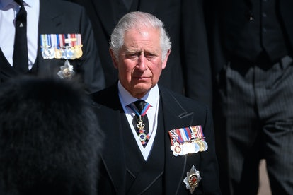 WINDSOR, ENGLAND - APRIL 17: Prince Charles, Prince of Wales during the Ceremonial Procession during the funeral of Prince Philip, Duke of Edinburgh at Windsor Castle on April 17, 2021 in Windsor, England. Prince Philip of Greece and Denmark was born 10 June 1921, in Greece. He served in the British Royal Navy and fought in WWII. He married the then Princess Elizabeth on 20 November 1947 and was created Duke of Edinburgh, Earl of Merioneth, and Baron Greenwich by King VI. He served as Prince Consort to Queen Elizabeth II until his death on April 9 2021, months short of his 100th birthday. His funeral takes place today at Windsor Castle with only 30 guests invited due to Coronavirus pandemic restrictions. (Photo by Leon Neal/WPA Pool/Getty Images  )
