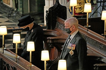 WINDSOR, ENGLAND - APRIL 17: Queen Elizabeth II and Prince Andrew, Duke of York attend the funeral o...