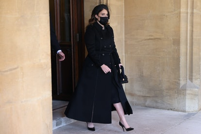 WINDSOR, ENGLAND - APRIL 17: Princess Eugenie arrives for the funeral of Prince Philip, Duke of Edin...