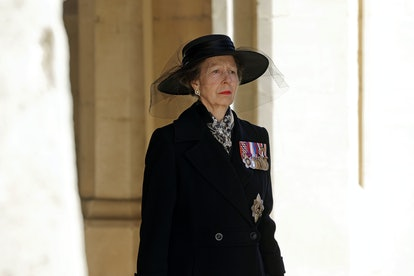 WINDSOR, ENGLAND - APRIL 17: Princess Anne, Princess Royal during the funeral of Prince Philip, Duke of Edinburgh at Windsor Castle on April 17, 2021 in Windsor, England. Prince Philip of Greece and Denmark was born 10 June 1921, in Greece. He served in the British Royal Navy and fought in WWII. He married the then Princess Elizabeth on 20 November 1947 and was created Duke of Edinburgh, Earl of Merioneth, and Baron Greenwich by King VI. He served as Prince Consort to Queen Elizabeth II until his death on April 9 2021, months short of his 100th birthday. His funeral takes place today at Windsor Castle with only 30 guests invited due to Coronavirus pandemic restrictions. (Photo by Chris Jackson/WPA Pool/Getty Images)