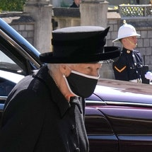 WINDSOR, ENGLAND - APRIL 17: Queen Elizabeth II arrives for the funeral of her husband Prince Philip, Duke of Edinburgh at St George's Chapel at Windsor Castle on April 17, 2021 in Windsor, England. Prince Philip of Greece and Denmark was born 10 June 1921, in Greece. He served in the British Royal Navy and fought in WWII. He married the then Princess Elizabeth on 20 November 1947 and was created Duke of Edinburgh, Earl of Merioneth, and Baron Greenwich by King VI. He served as Prince Consort to Queen Elizabeth II until his death on April 9 2021, months short of his 100th birthday. His funeral takes place today at Windsor Castle with only 30 guests invited due to Coronavirus pandemic restrictions. (Photo by Jonathan Brady - WPA Pool/Getty Images)