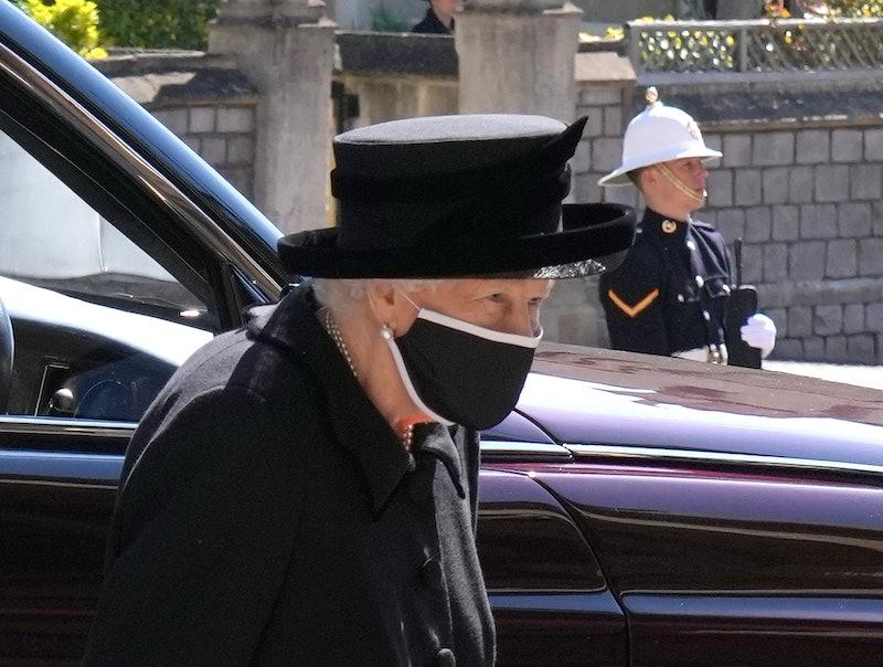 WINDSOR, ENGLAND - APRIL 17: Queen Elizabeth II arrives for the funeral of her husband Prince Philip...
