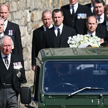 Britain's Prince Charles, Prince of Wales, (L-front), Britain's Prince Andrew, Duke of York, (L-centre) and Britain's Prince William, Duke of Cambridge, (L-back) are seen during the ceremonial funeral procession of Britain's Prince Philip, Duke of Edinburgh to St George's Chapel in Windsor Castle in Windsor, west of London, on April 17, 2021. - Philip, who was married to Queen Elizabeth II for 73 years, died on April 9 aged 99 just weeks after a month-long stay in hospital for treatment to a heart condition and an infection. (Photo by LEON NEAL / POOL / AFP) (Photo by LEON NEAL/POOL/AFP via Getty Images)