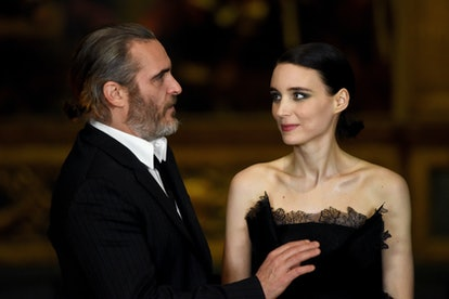 LONDON, ENGLAND - FEBRUARY 26:  Joaquin Phoenix (L) and Rooney Mara attend the 'Mary Magdalene' special screening held at The National Gallery on February 26, 2018 in London, England.  (Photo by Dave J Hogan/Dave J Hogan/Getty Images)