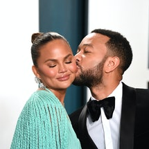 BEVERLY HILLS, CALIFORNIA - FEBRUARY 09: Chrissy Teigen and John Legend arriving for the 2020 Vanity Fair Oscar Party Hosted By Radhika Jones, at the Wallis Annenberg Center for the Performing Arts on February 09, 2020 in Beverly Hills, California. (Photo by Karwai Tang/Getty Images)