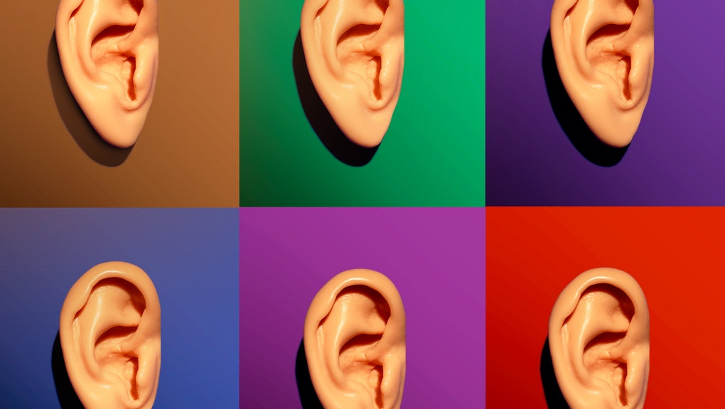 Set of 6 caucasian human ear models on 6 different color backgrounds