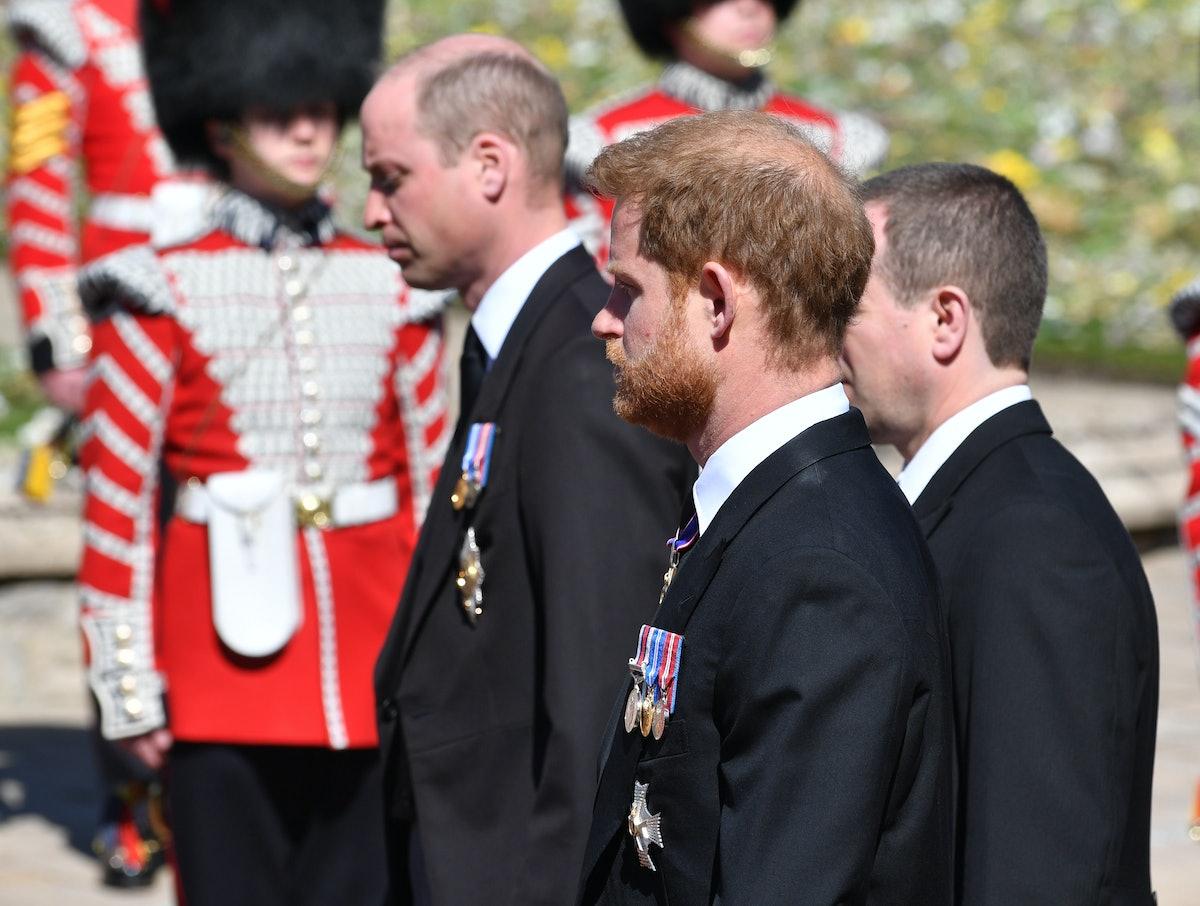 WINDSOR, ENGLAND - APRIL 17: Prince William, Duke of Cambridge; Prince Harry, Duke of Sussex and Pet...