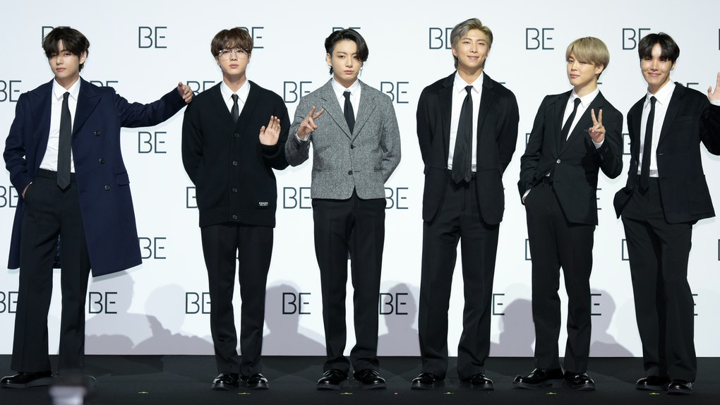 SEOUL, SOUTH KOREA - NOVEMBER 20: BTS during BTS's New Album 'BE (Deluxe Edition)' Release Press Conference at Dongdaemun Design Plaza on November 20, 2020 in Seoul, South Korea. (Photo by The Chosunilbo JNS/Imazins via Getty Images)