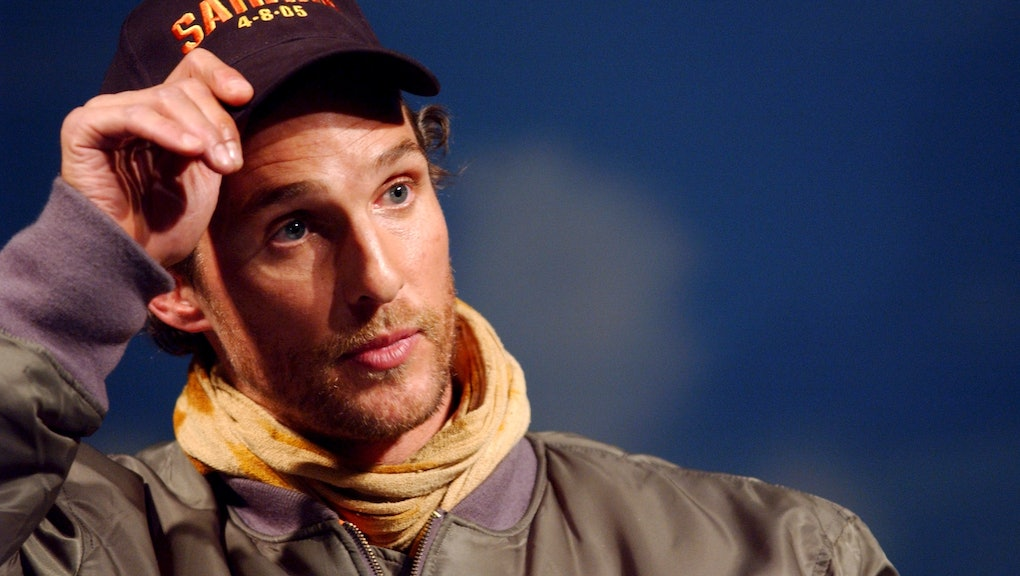 """Matthew McConaughey arrives at the Intrepid Sea, Air and Space Museum to promote his new movie """"Sahara"""", New York CityZAK BRIAN/GAMMA (Photo by Brian ZAK/Gamma-Rapho via Getty Images)"""