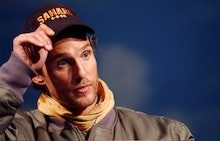 """Matthew McConaughey arrives at the Intrepid Sea, Air and Space Museum to promote his new movie """"Saha..."""