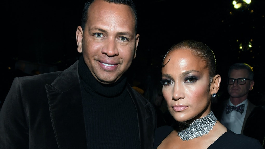HOLLYWOOD, CALIFORNIA - FEBRUARY 07: (L-R) Alex Rodriguez and Jennifer Lopez attend the Tom Ford AW20 Show at Milk Studios on February 07, 2020 in Hollywood, California. (Photo by Kevin Mazur/Getty Images)