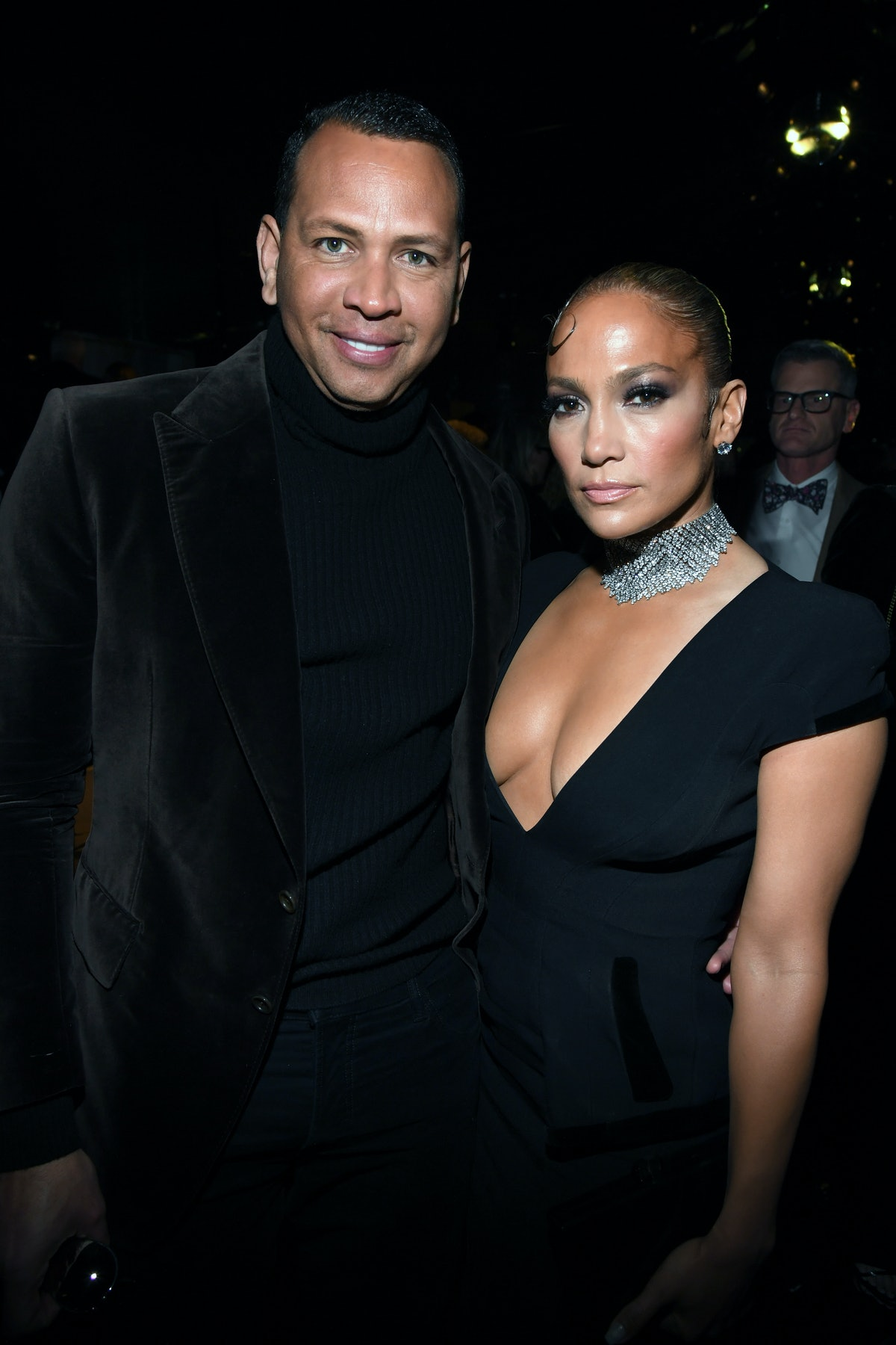 HOLLYWOOD, CALIFORNIA - FEBRUARY 07: (L-R) Alex Rodriguez and Jennifer Lopez attend the Tom Ford AW2...