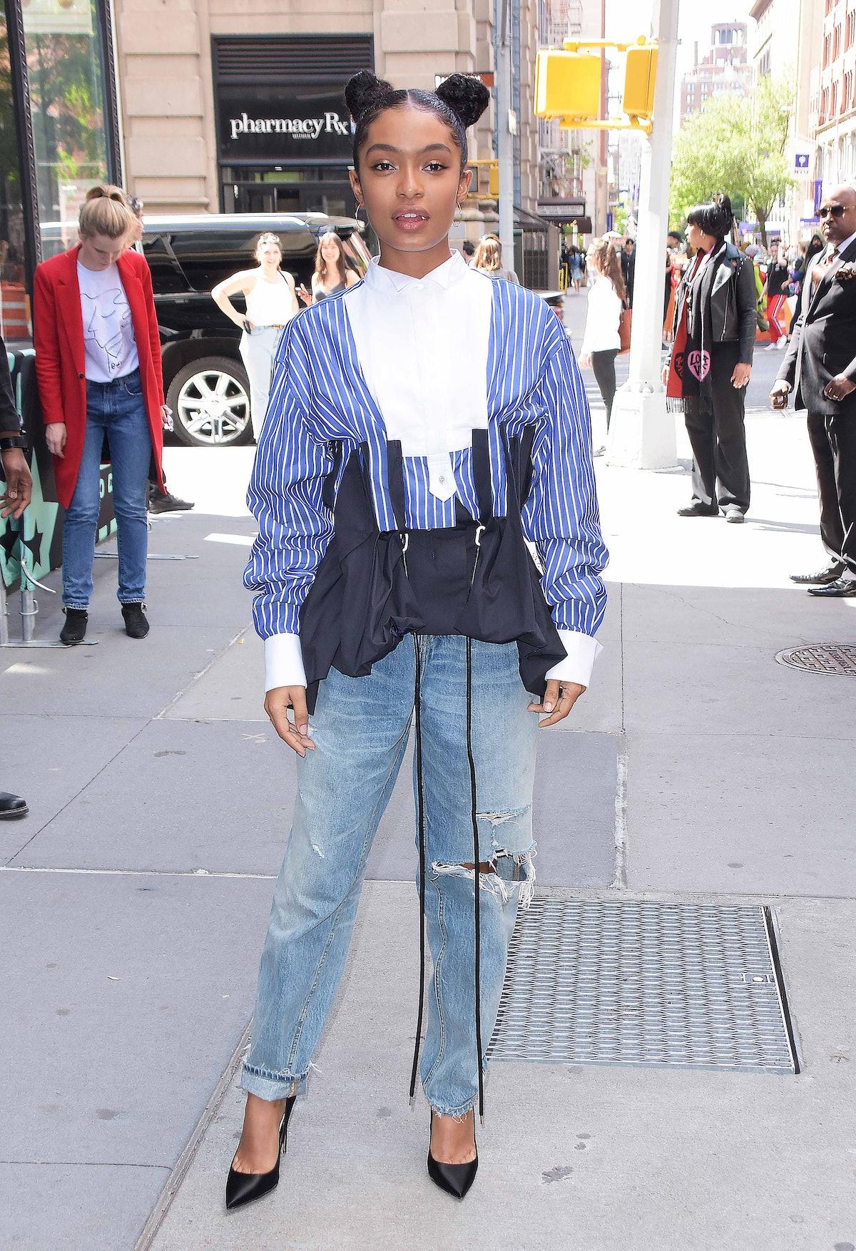NEW YORK, NY - MAY 16:  Yara Shahidi is seen on May 16, 2019 in New York City.  (Photo by Patricia S...