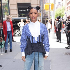 NEW YORK, NY - MAY 16:  Yara Shahidi is seen on May 16, 2019 in New York City.  (Photo by Patricia Schlein/Star Max/GC Images)