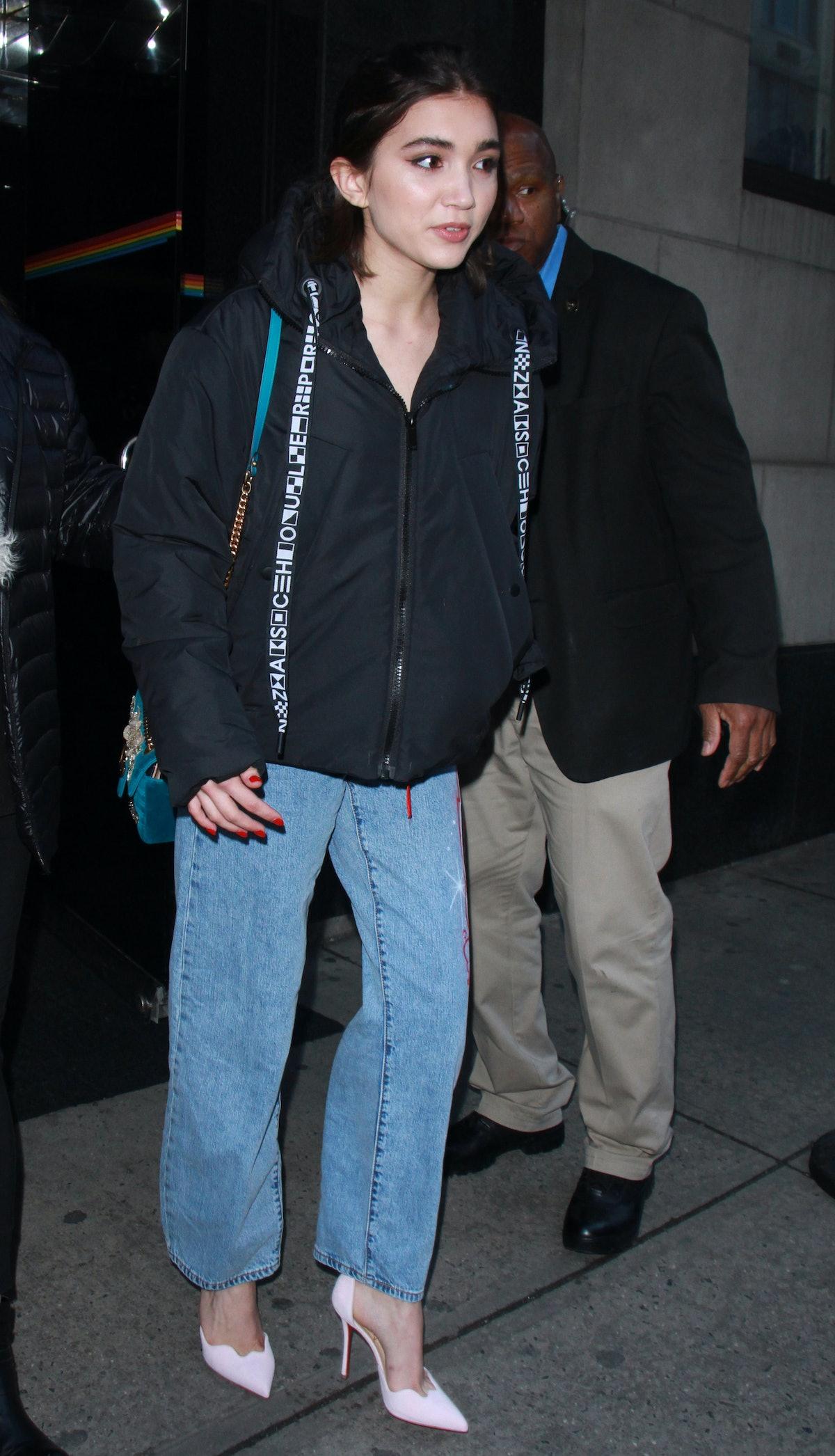 NEW YORK, NY - FEBRUARY 08: Rowan Blanchard is seen on February 08, 2018 in New York City.  (Photo b...