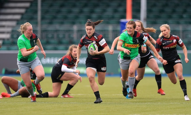 Saracens' Alysha Corrigan breaks clear during the Women's Allianz Premier 15's match at the StoneX Stadium, London. Picture date: Saturday March 27, 2021. (Photo by Adam Davy/PA Images via Getty Images)
