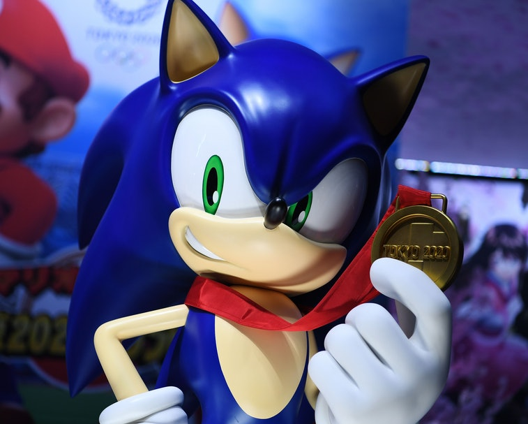 """Character of Sega franchise Sonic the Hedgehog is seen at a promotional booth for the video game """"Mario & Sonic at the Olympic Games Tokyo 2020"""" during the Tokyo Game Show in Makuhari, Chiba Prefecture on September 12, 2019. (Photo by CHARLY TRIBALLEAU / AFP)        (Photo credit should read CHARLY TRIBALLEAU/AFP via Getty Images)"""
