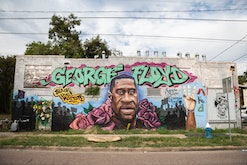 A George Floyd mural on a building in 3rd Ward Saturday September 5, 2020 in Houston, TX.